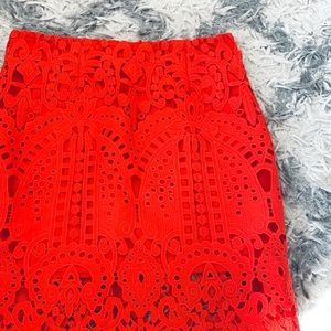 Red Lace Mini Pencil Skirt
